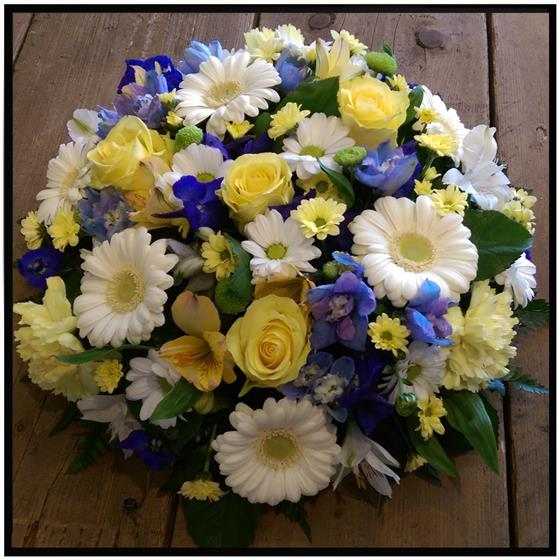 Yellow, White and Blue Loose Posy