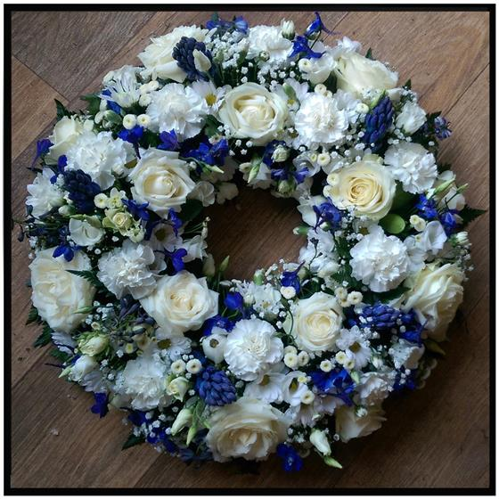White and Blue Rose Wreath