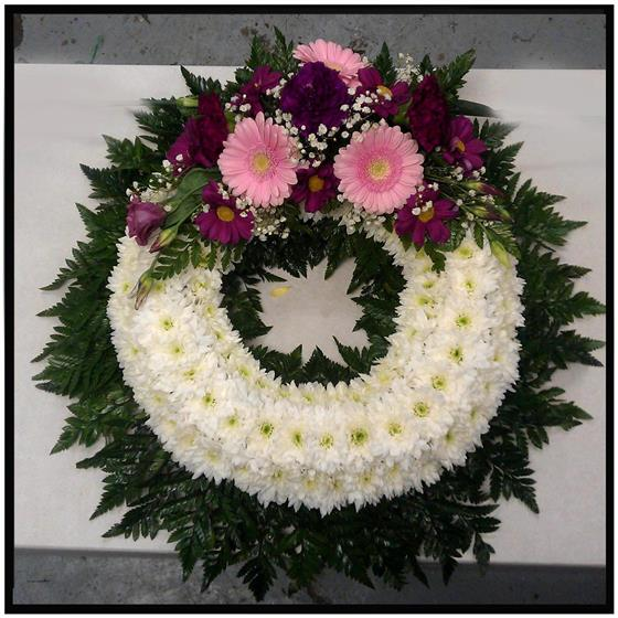 Based Wreath with a spray in Shades of Pink