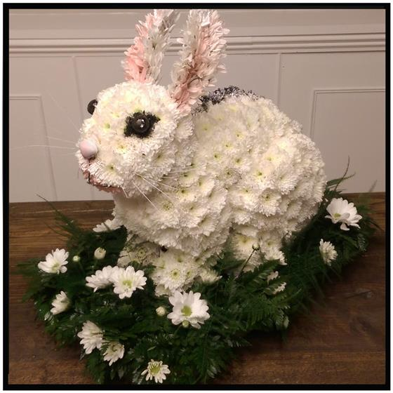 3D Rabbit Floral Tribute
