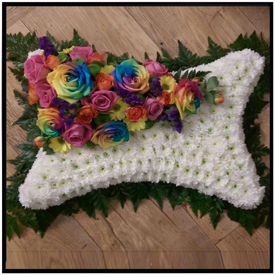 Rainbow Rose Pillow Floral Tribute