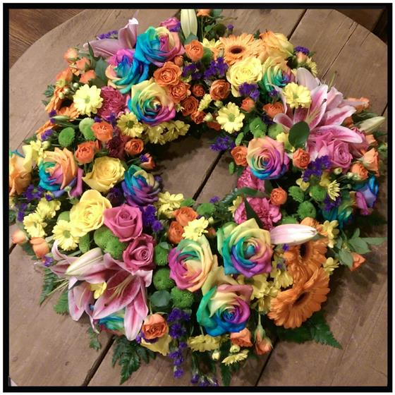 Rainbow Rose Wreath Floral Tribute